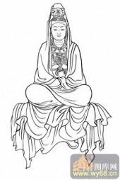 观音-白描图-02白衣观印-观音菩萨