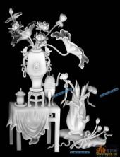 04-荷花-003-花鸟精雕灰度图