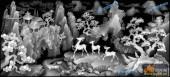 03-鹿-029-花鸟雕刻灰度图