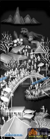 其它图-清明上河图-019-多宝格灰度图