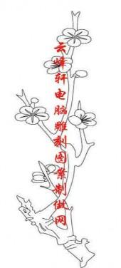 梅兰竹菊-白描图-梅花-mlxj032-梅兰竹菊雕刻图案