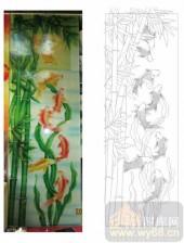 2011设计艺术玻璃刻绘-八鱼图-玻璃雕刻