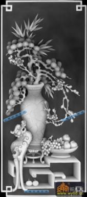 01-腊梅-030-花鸟灰度图案