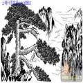 2010.4.3迎客松-白描图-苍劲奇秀-yks004-迎客松国画白描