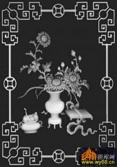 八宝011-菊花-405菊外筐-精雕灰度图