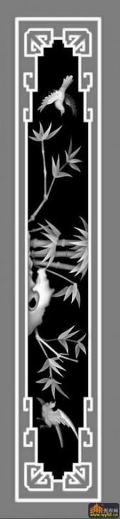 竹子 鸟-灰度浮雕