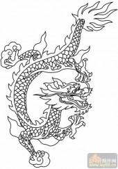 龙-白描图-风虎云龙-long38-传统龙图案