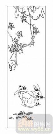 03动物系列-藤下兔-00003-装饰玻璃