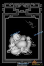 小佛-欢喜罗汉-022-雕刻灰度图