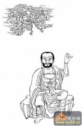 18罗汉3-白描图-罗汉9-罗汉雕刻图片