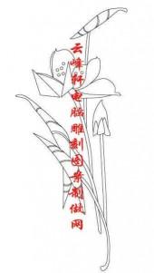 梅兰竹菊-白描图-荷花-mlxj031-梅兰竹菊雕刻图案