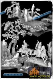百子图001-八仙桌百子图-八仙桌柜面021-雕刻灰度图