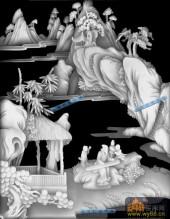 八仙多宝格-琴-八仙多宝格灰度图案