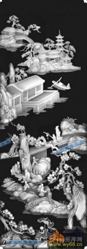 04-山色-081-花鸟浮雕图库