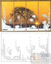 艺术玻璃图库-滑动门系列2-热带鱼-00092