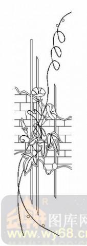 喷砂玻璃-08四扇门(4)-喇叭花-00012