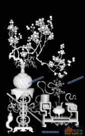 04-香炉-072-花鸟灰度图