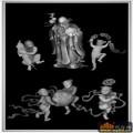 人物 仙人 桃-雕刻灰度图