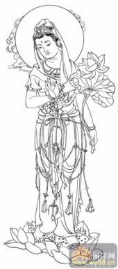 观音-白描图-48红莲观音-1-观音菩萨全图