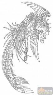 凤-白描图-有凤来仪-huangf002-传统凤图案