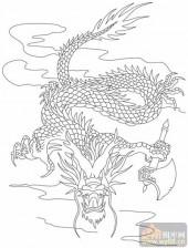 龙-白描图-猛龙出世-long147-中国白描龙