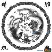 龙凤图-龙凤呈祥-010-浮雕灰度图