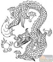 龙-白描图-龙珠-long24-龙图