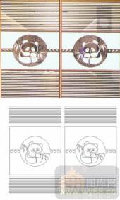 喷砂玻璃-滑动门系列2-熊猫-00089