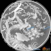 圆盘雕图灰度图-023-凤凰-039-圆盘雕图浮雕图库
