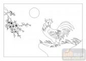 03动物系列-鹤立鸡群-00053-喷砂玻璃