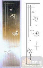 艺术玻璃图库-浮雕贴片-蝴蝶-00086