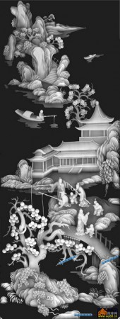 百子图002-扇面童子-扇3-3-百子图浮雕灰度图