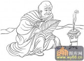 18罗汉3-白描图-罗汉15-罗汉雕刻图片