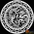 龙 凤凰 云 T纹边 圆-浮雕图案