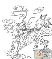 100个中国传统吉祥图-矢量图-天上麒麟-B-026-吉祥图案