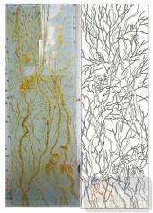 2011设计艺术玻璃刻绘-树根-喷砂玻璃图库
