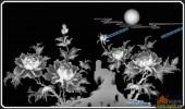 03-月下花容-075-花鸟雕刻灰度图