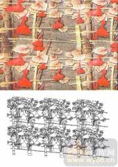装饰玻璃-肌理雕刻系列1-红枫叶-00146