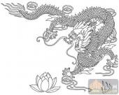 龙-白描图-龙戏莲花-long8-龙图片
