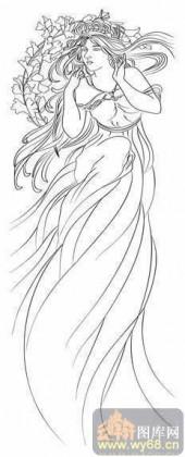 2008-白描图-花中仙子-2008-011-传统仕女图