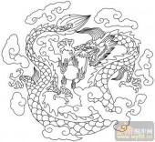 龙-白描图-盘龙云海-long21-白描龙图