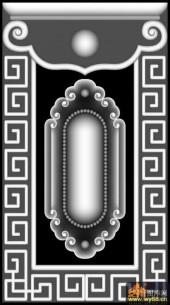 花纹 回纹边框-灰度图库素材