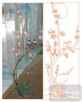 2011设计艺术玻璃刻绘-梅花鸟1-雕刻玻璃