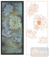 2011设计艺术玻璃刻绘-荷花5-喷砂玻璃图库
