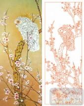 2011设计艺术玻璃刻绘-梅花鸟鸟-雕刻玻璃