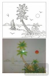 2011设计艺术玻璃刻绘-椰子风景-玻璃雕刻