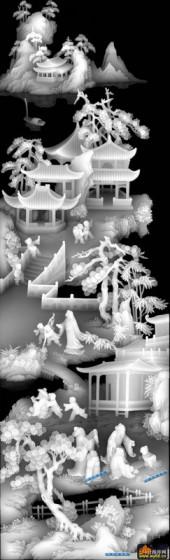 百子图002-仙境-0822拷贝-百子图精雕灰度图