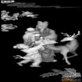 福禄寿 人物 童子 鹿-木雕灰度图