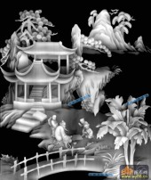 琴棋书画002-对弈-002-琴棋书画精雕灰度图