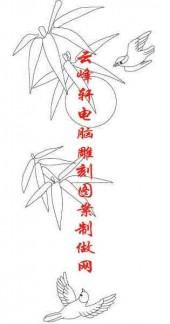 梅兰竹菊-白描图-竹子 鸟-mlxj047-梅兰竹菊雕刻图案